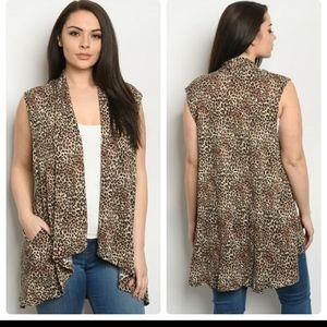 Animal print sleeveless plus size cardigan vest
